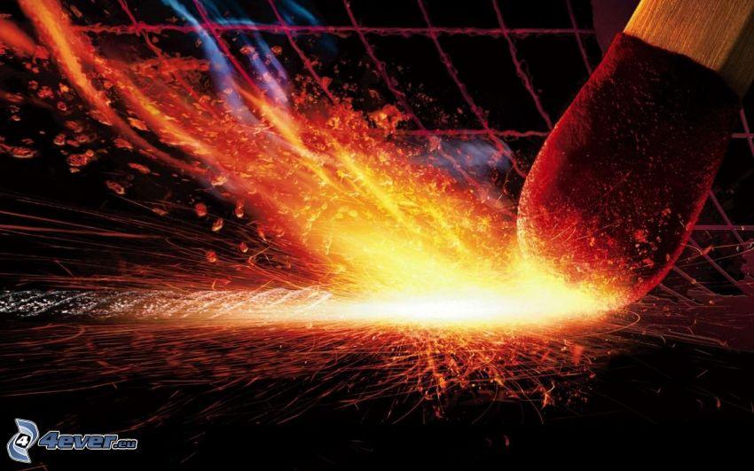 match, spark, fire, macro