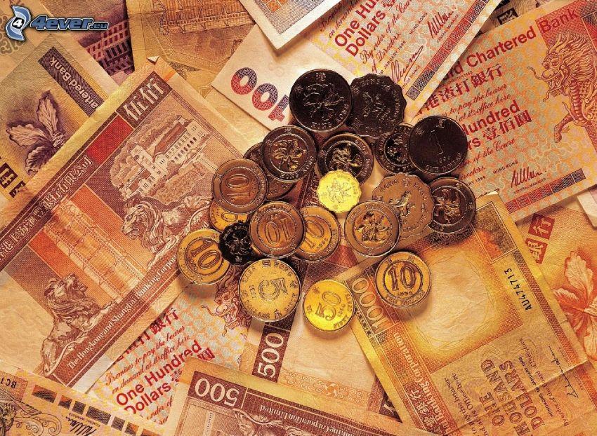 money, bank notes, coins