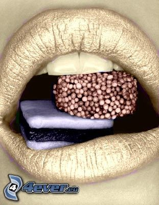 mouth, candy, lips