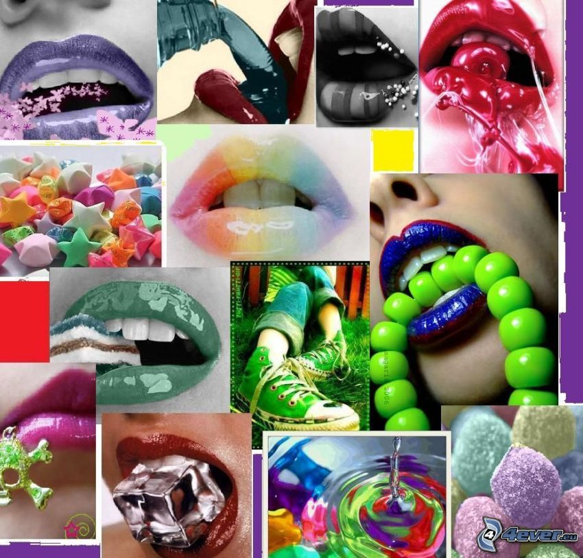 mouth, lips, collage