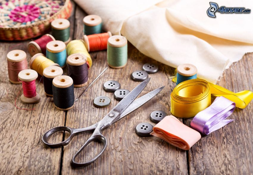 needle and thread, buttons, scissors, ribbons, fabric