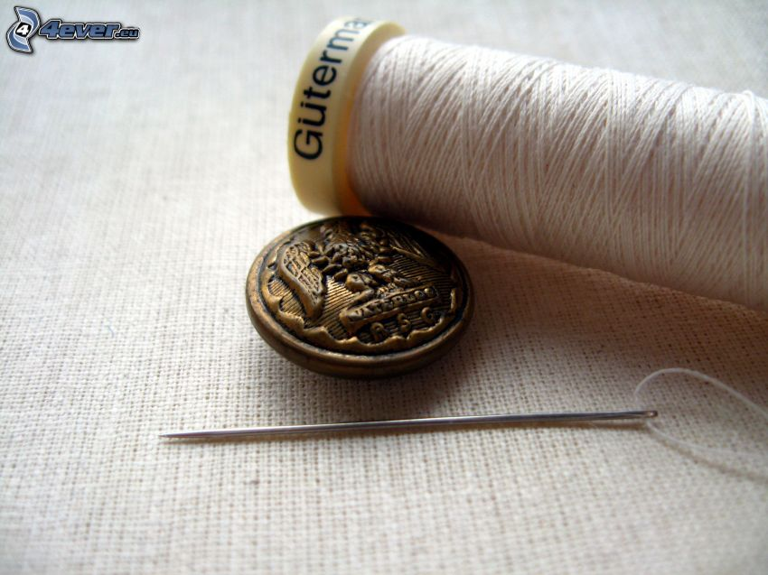 needle and thread, buttons
