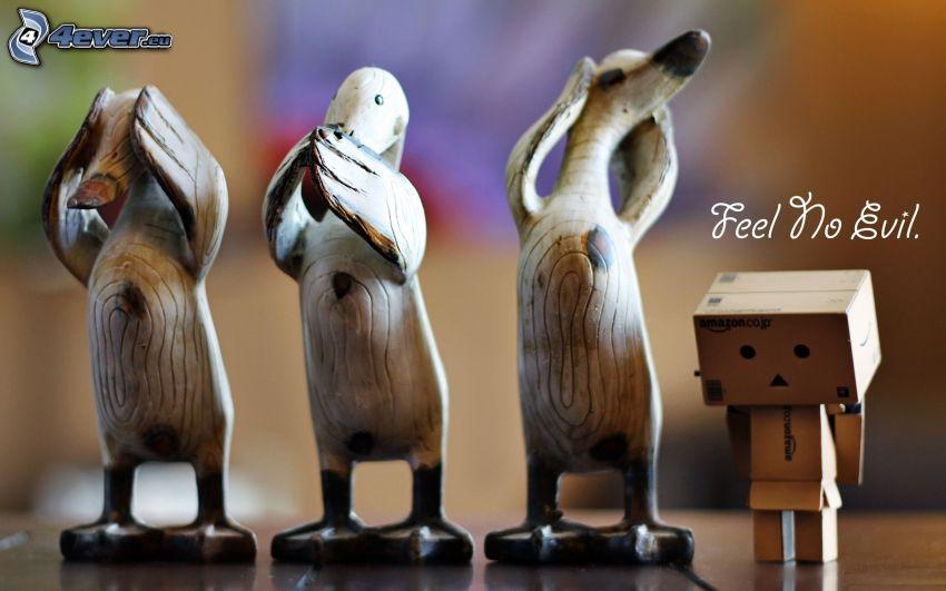 no speak, no see, no hear, ducks, figures, paper robot