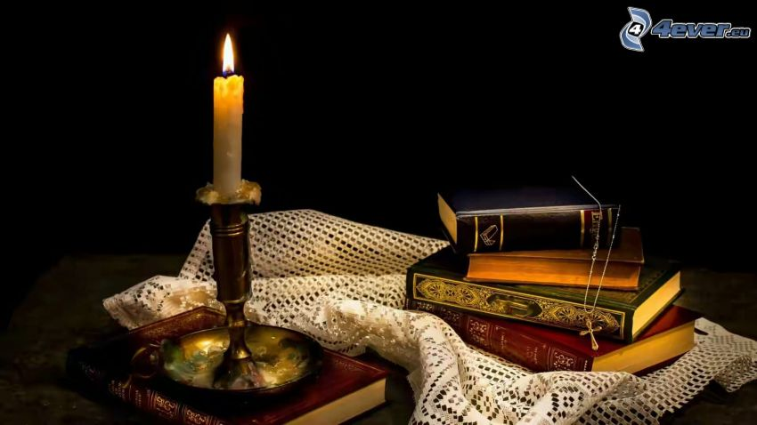 old books, candle