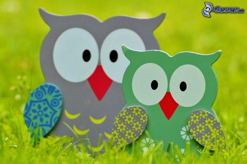 owls, grass
