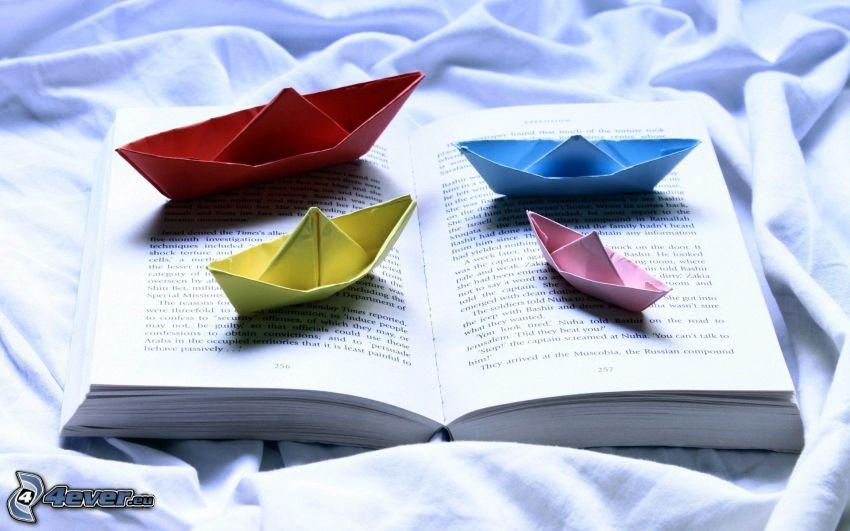 paper boat, book