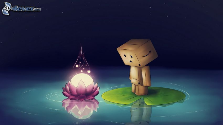paper robot, flower, fire, water lily, water