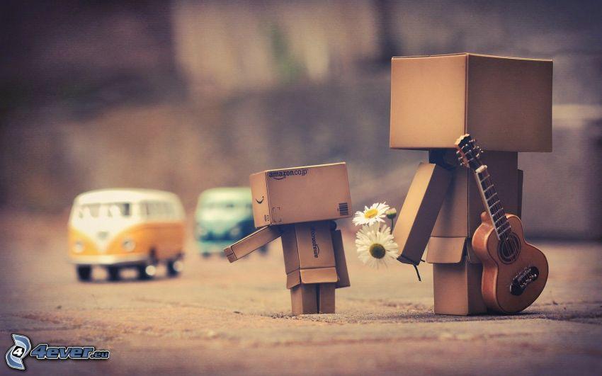 paper robot, guitar, Volkswagen Type 2
