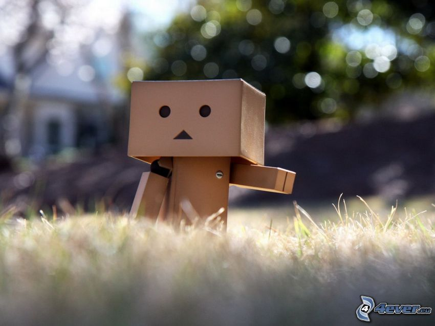 paper robot, lawn
