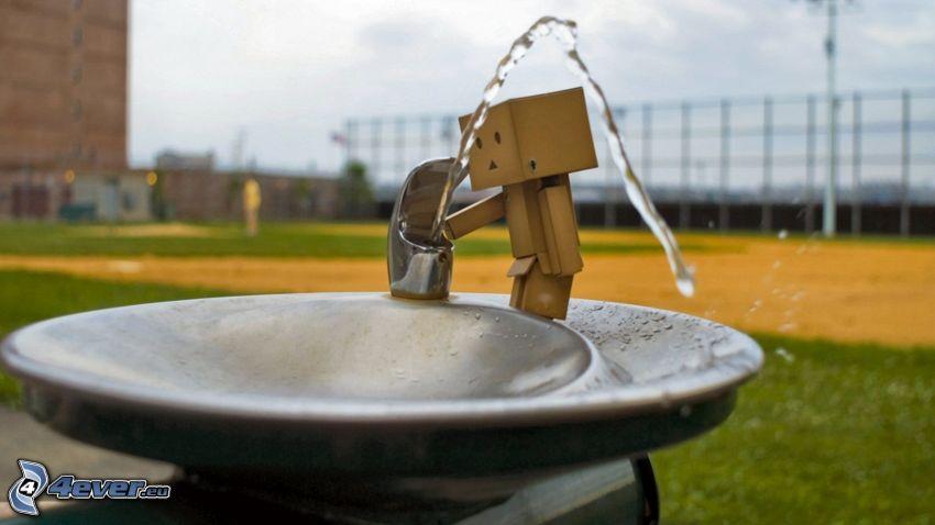 paper robot, wash basin