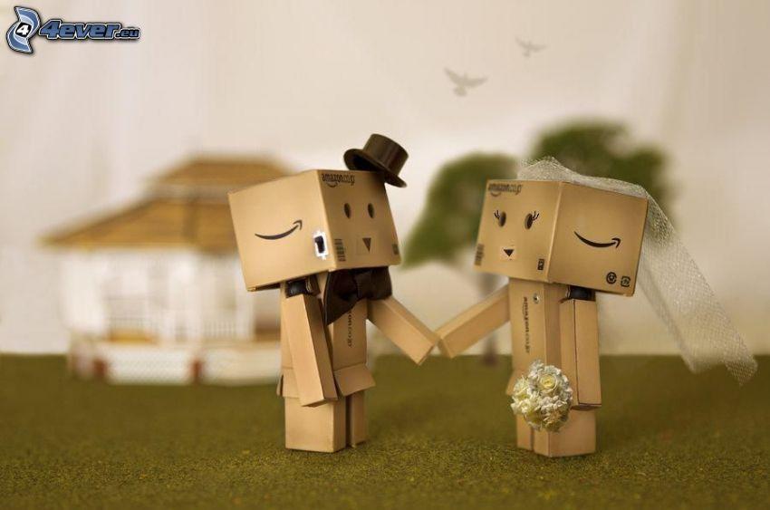 paper robots, wedding, hat, bow tie, bouquets