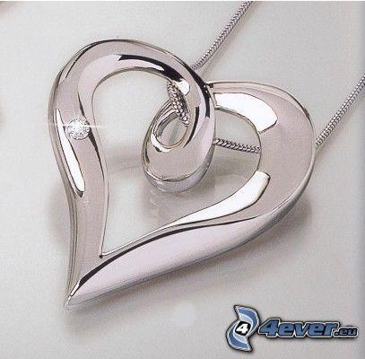 pendant with heart, diamond, silver pendant