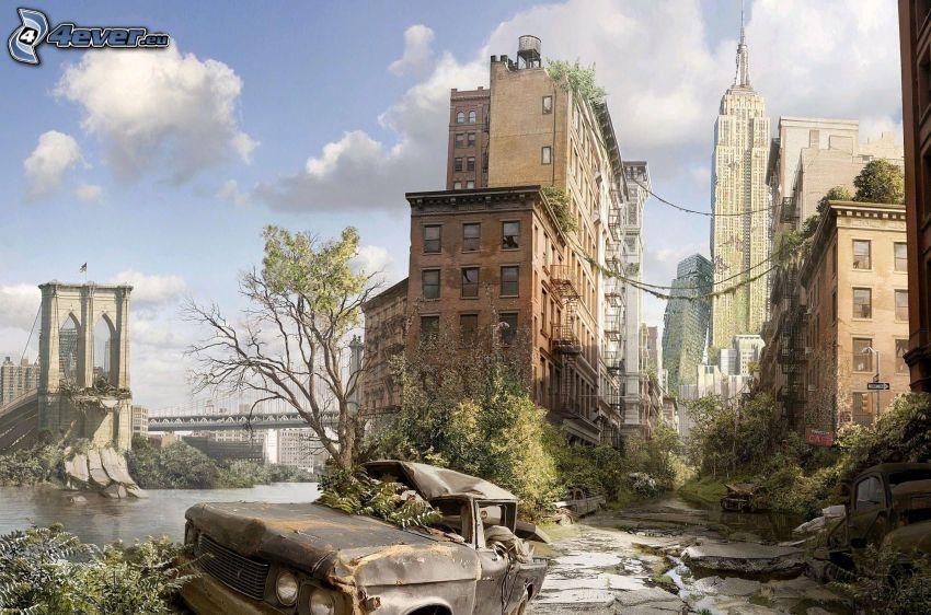 post apocalyptic city, New York, wreck