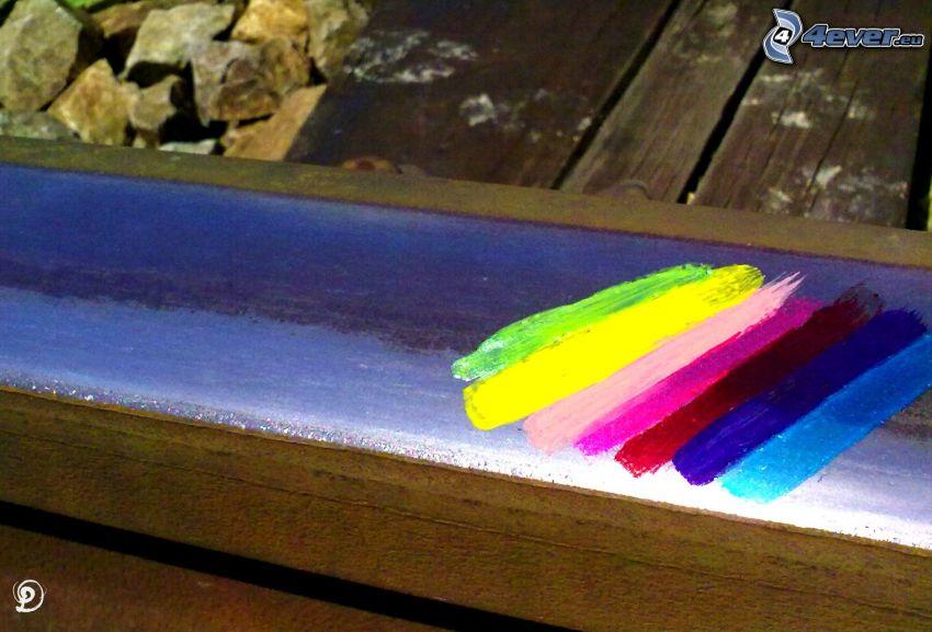 rainbow colors, rails, railway