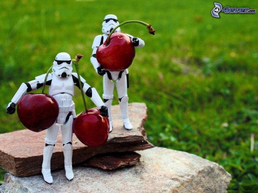robots, cherries