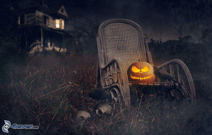 rocking chair, halloween pumpkin, haunted house, field