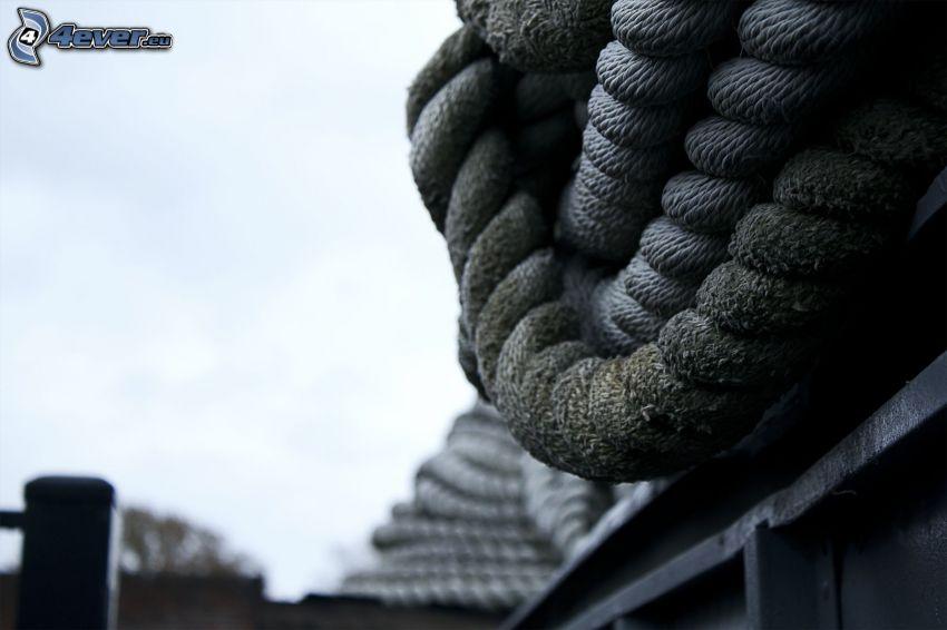 rope, black and white photo