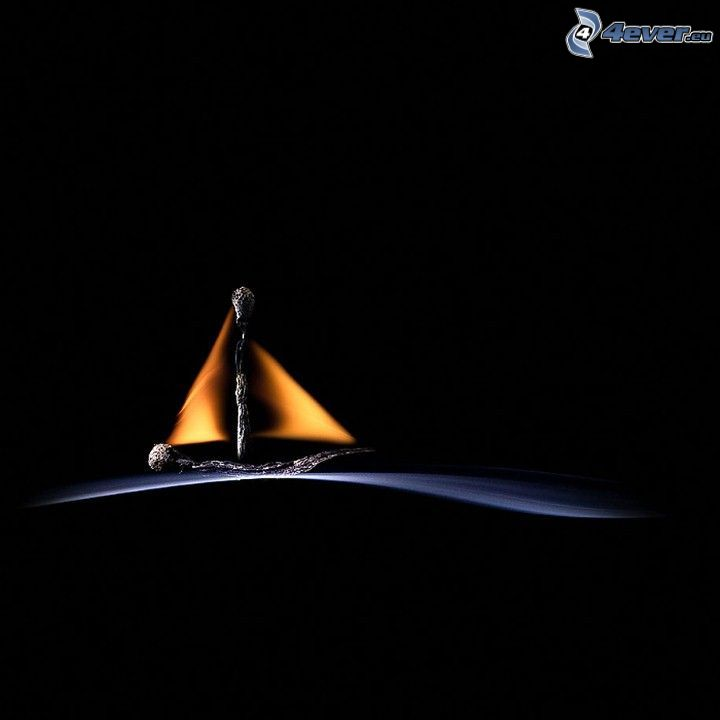 sailing boat, matches, flame