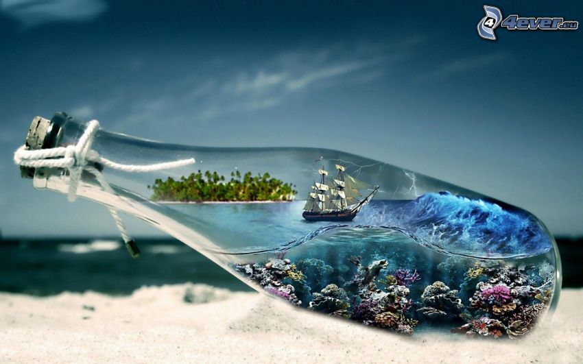 sailing ship in a bottle, sea, corals, sand