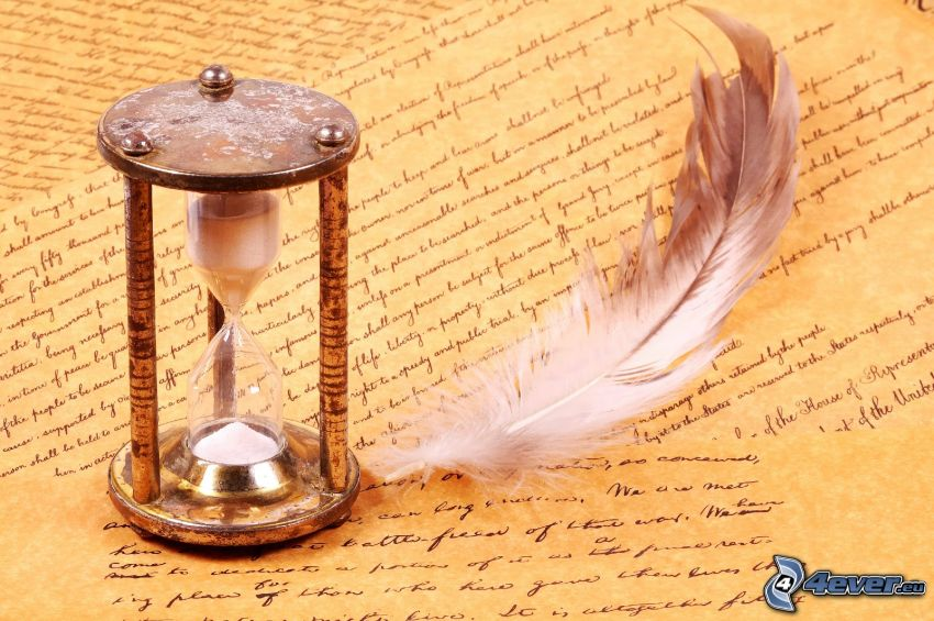 sand-glass, feather, letters