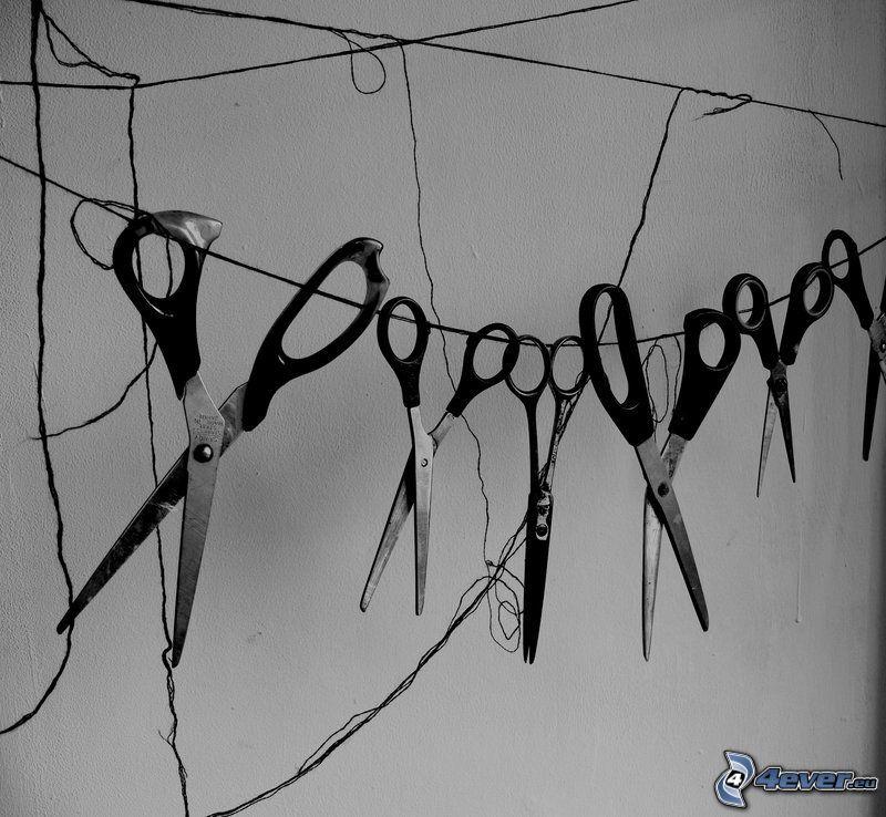 scissors, clothesline