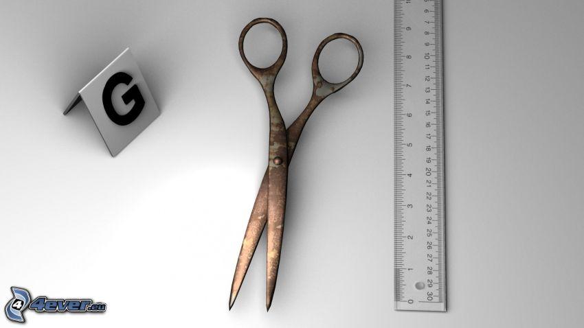 scissors, ruler, letter