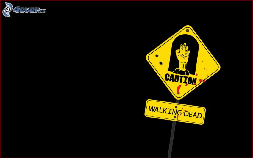 sign, caution, The Walking Dead