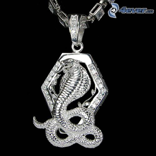 silver pendant, cobra, diamonds
