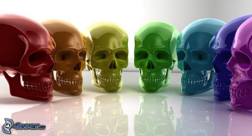 skulls, colors
