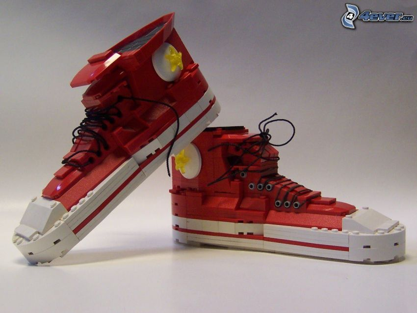 sneakers from Lego, Converse, red sneakers