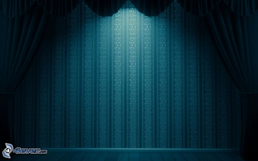 stage, curtain, wall, blue background