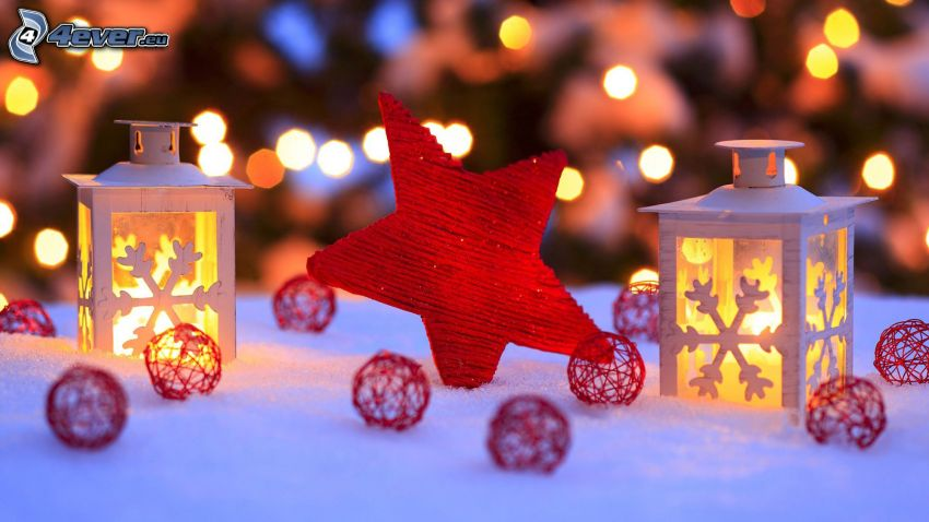 star, lantern, balls, snow