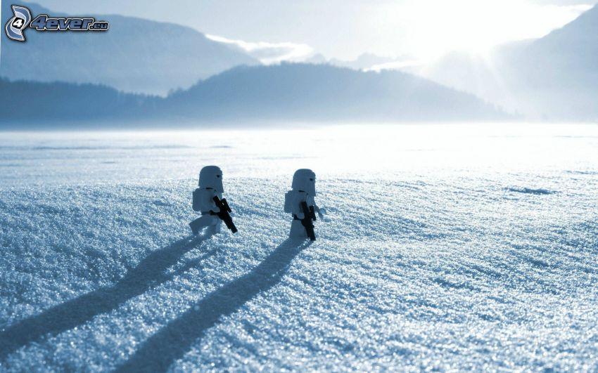 Star Wars, Lego, stickmans, snow