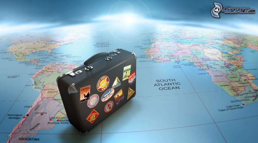 suitcase, world map