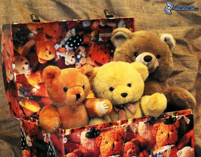 teddy bears, box