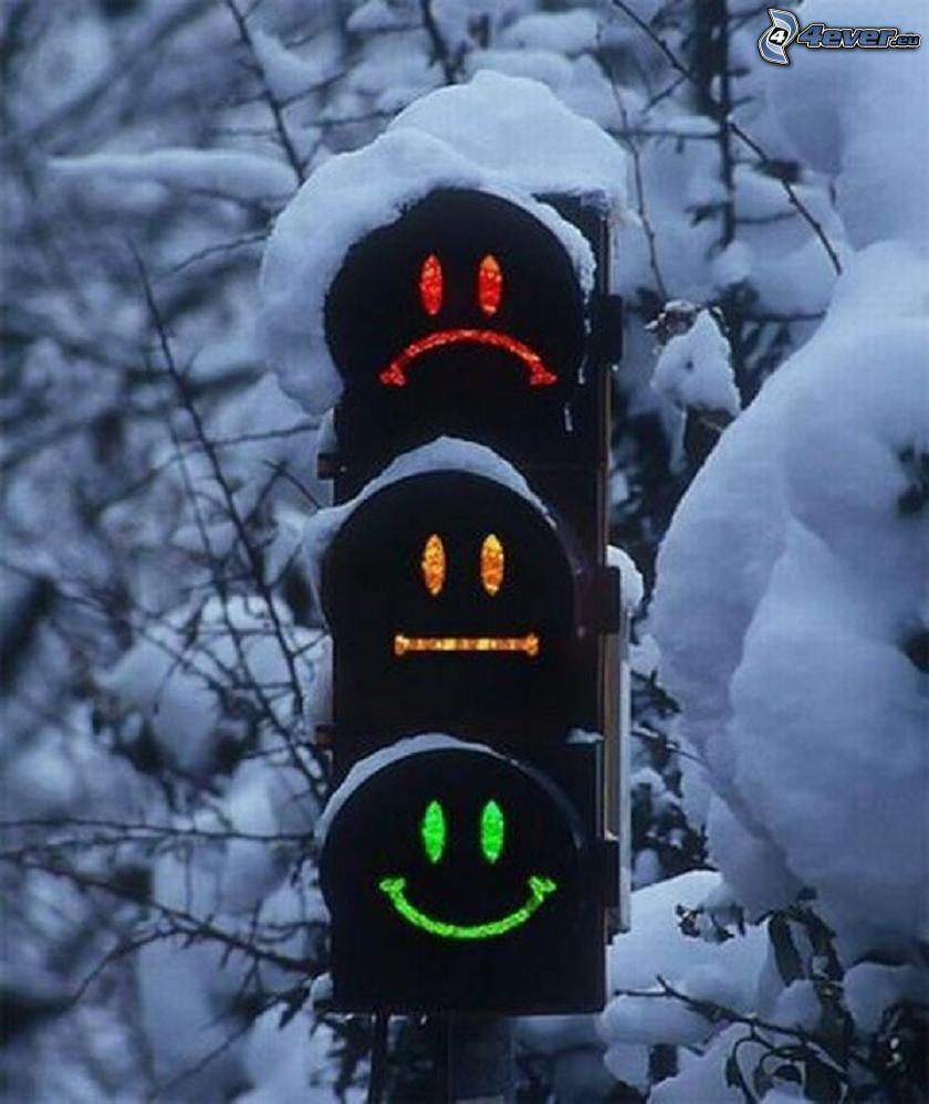 traffic light, smiles, snow