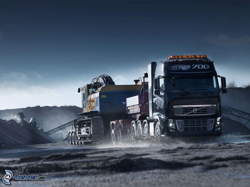 truck, construction site