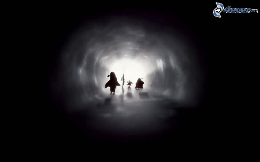 tunnel, figures, silhouette, light