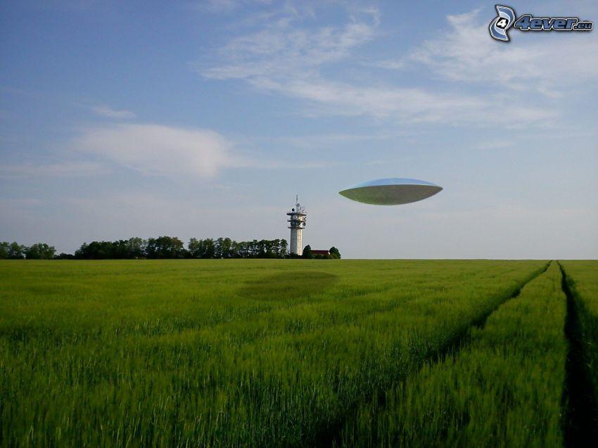 UFO, field, meadow, sky, lighthouse
