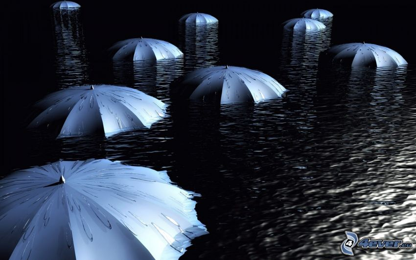 umbrellas, water