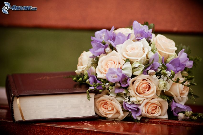 wedding bouquet, book