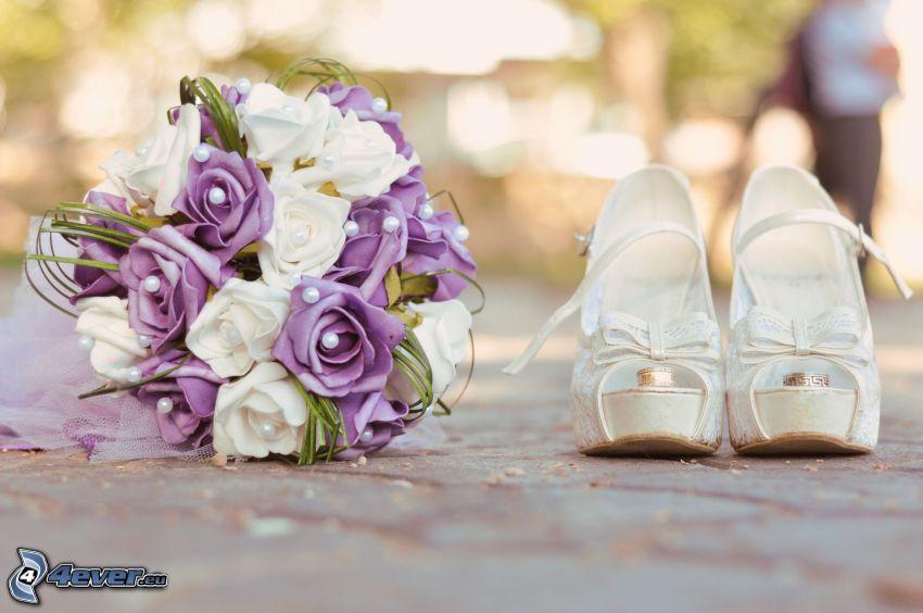 wedding bouquet, wedding rings, platform pumps
