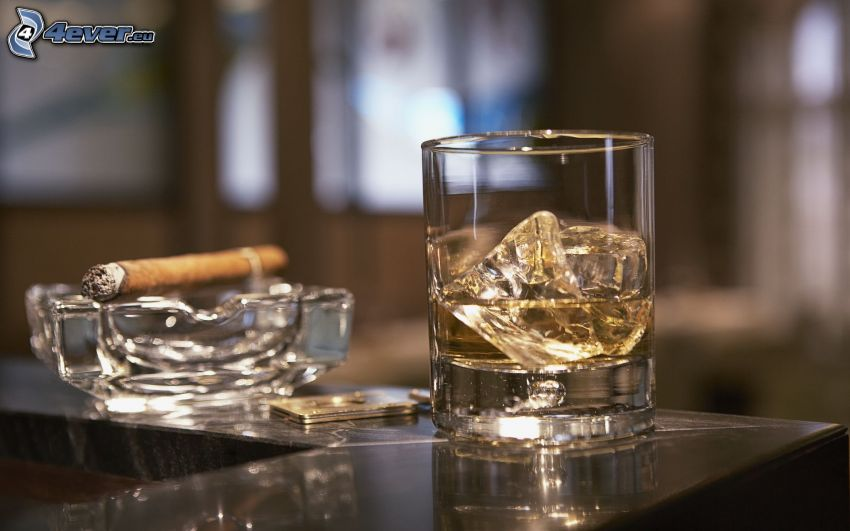 whisky with ice, cigars