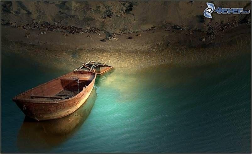 wooden boat, beach, sea
