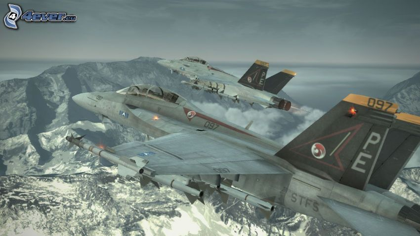 Ace Combat 6, fighters, rocky mountains