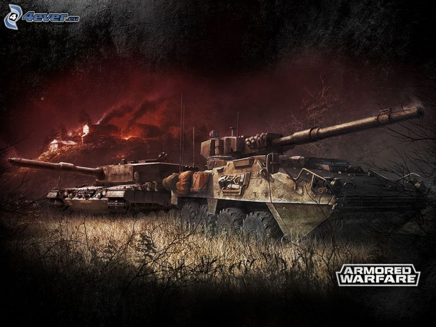 Armored Warfare, tanks, burning houses
