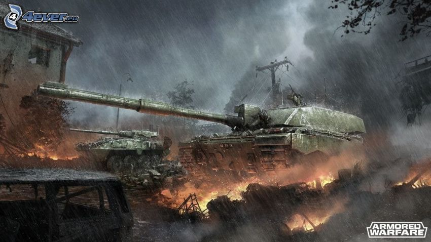 Armored Warfare, tanks, shooting, fire, rain