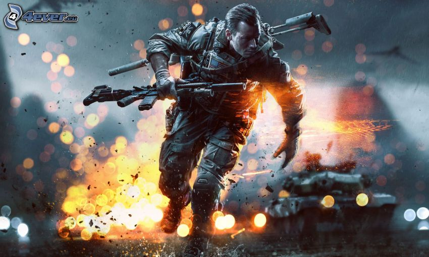 Battlefield 4, man with a gun, explosion