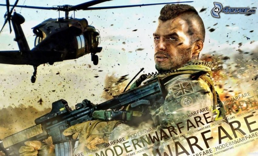 Call of Duty, man with a gun, helicopter