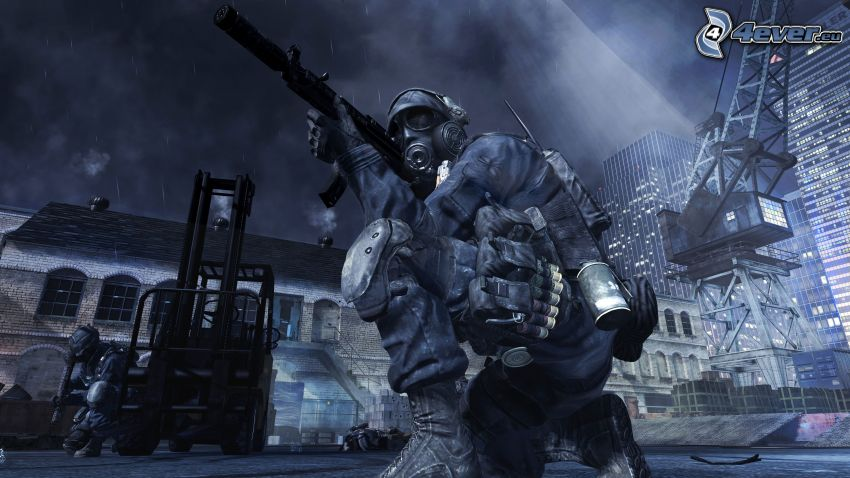 Call of Duty: Modern Warfare 3, man with a gun, gas mask